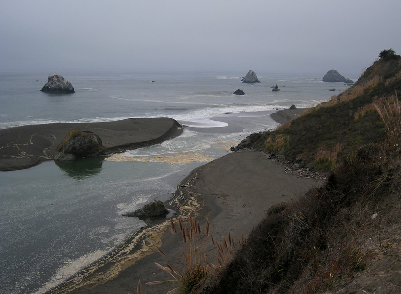 The Russian River meets the Pacific Ocean.  It was a very foggy day on the coast, but very sunny just 10 miles inland.