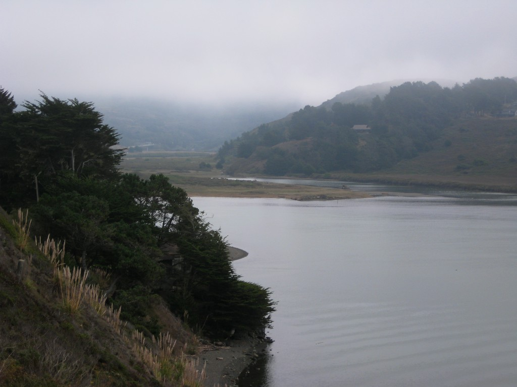 Looking back upstream from the Russian River mouth.