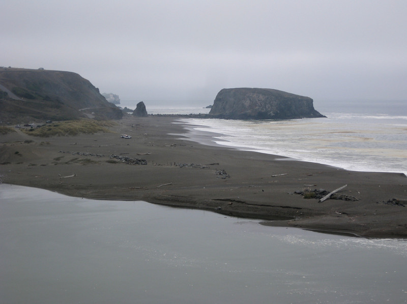 Looking South down the coast at the mouth of the Russian River.