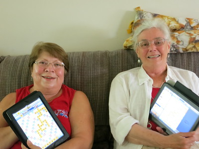 20130818 Memere and Grandma on their Tablets