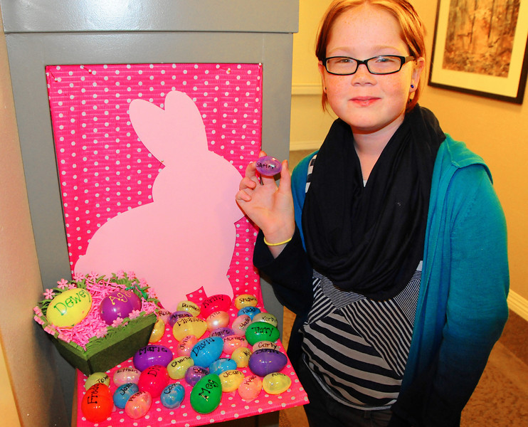 Sammi found the egg that Kathy included in her cute Easter display outside Aggie's room.