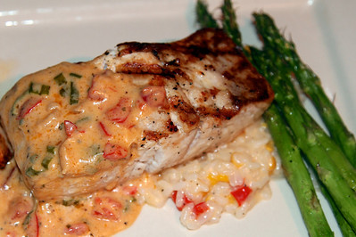 My dinner - Amberjack with corn risotto and sauteed asparagus. Delicious. Madison and Nana had it, too.