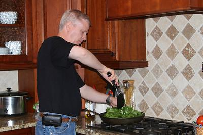 Mark makes spinach and garlic