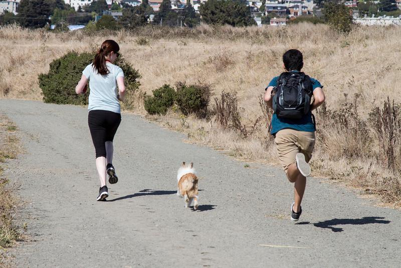 Celebrating MK's birthday, Aug. 24. Farley's first Dog Park visit.