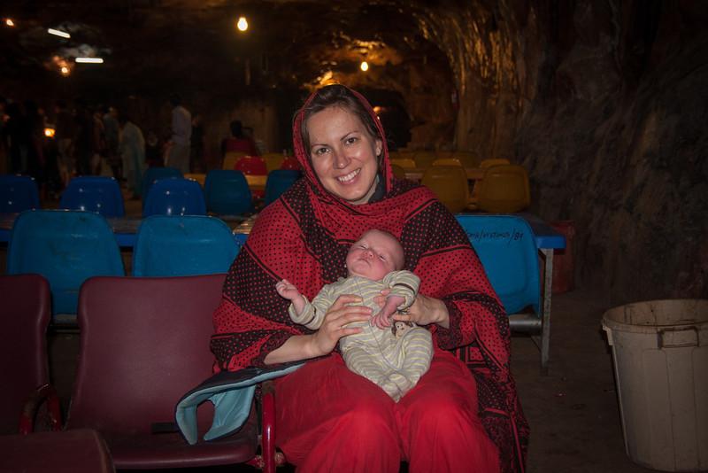 Erin and Seth (4 weeks) inside the Khewra salt mine