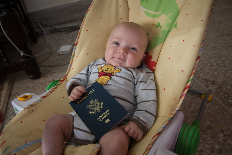 Seth (7 weeks) with his passport