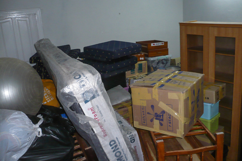 Packing up in our old house - we piled most of our stuff in one room as a sort of staging area