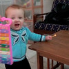 Sienna (15 months) playing with two favorite toys - Duplo and her xylophone