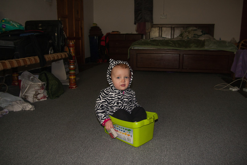 This is the room we're staying in at the Jameses' house. Sienna climbed into her Duplo box of her own accord :-)