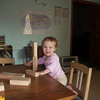 She's been enjoy the James boys' toys, including these blocks that she loves to stack