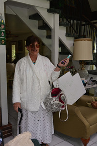 ...mom's every day jacket w/pockets, peppermint sick, chapstick, 'borrowed ' purse, hair clips and cane!