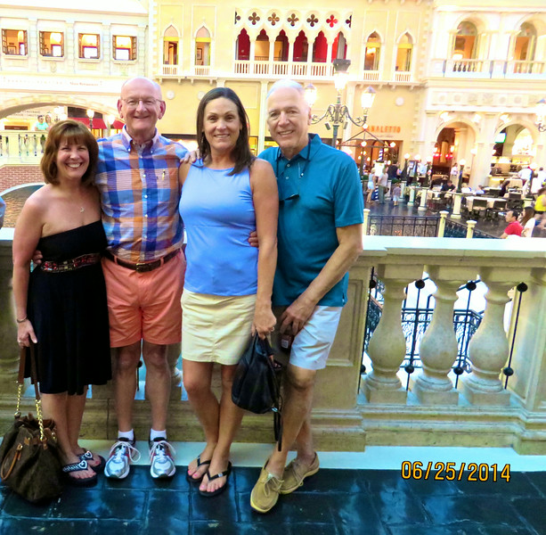 Ann & Russell Bellmor and Pam & Mikel Lanza At Venice Canal Venetian Hotel Las Vegas June 2014
