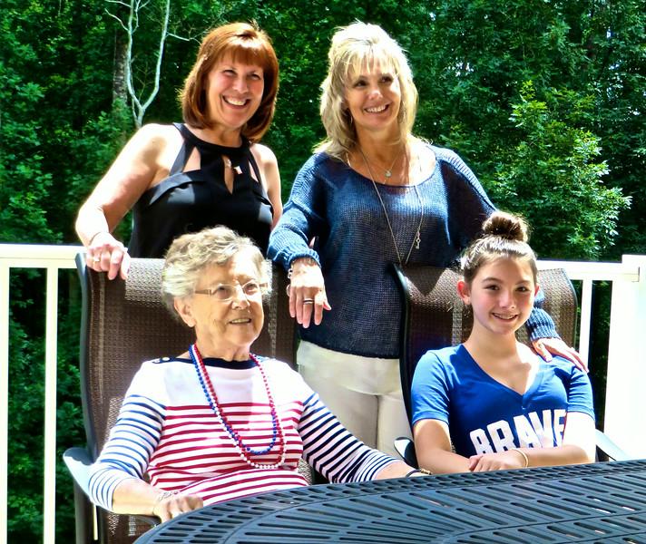 Lois Snyder, Nikki Adler, Karen Ledford & Ann Bellmor On Lois's 86th Birthday 7-4-14 At Somerby
