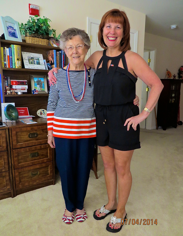 Lois Snyder & Ann Bellmor On Lois's 86th Birthday 7-4-14 At Somerby