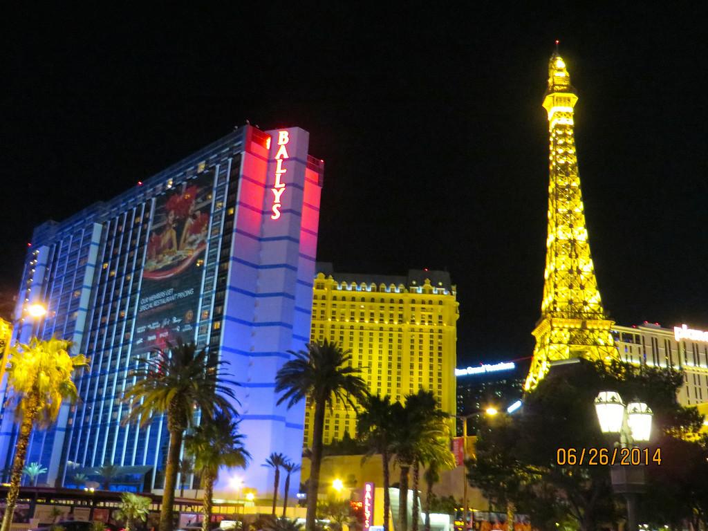 Paris Hotel & Bally Hotel Downtown Las Vegas At Night June 2014