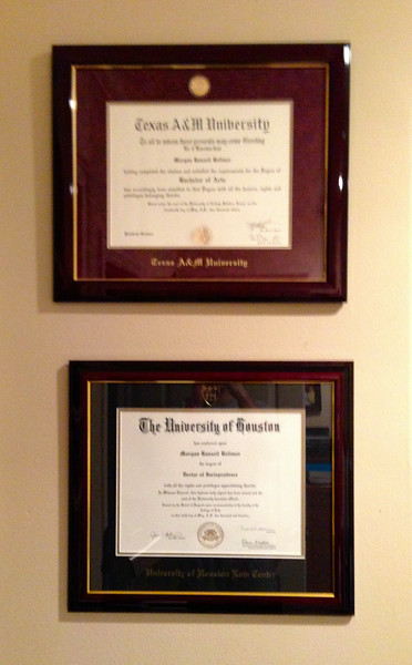 Morgan Bellmor's University of Houston Law School & Texas A&M Diplomas