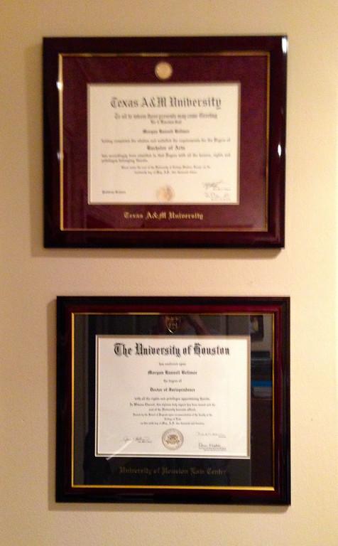 Morgan Bellmor's University of Houston Law School & Texas A&M Diplomas