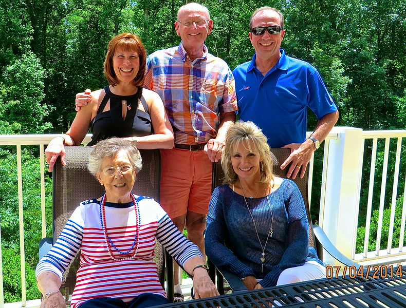 Lois Snyder, Karen & Kevin Ledford & Ann & Russell Bellmor On Lois's 86th Birthday 7-4-14 At Somerby