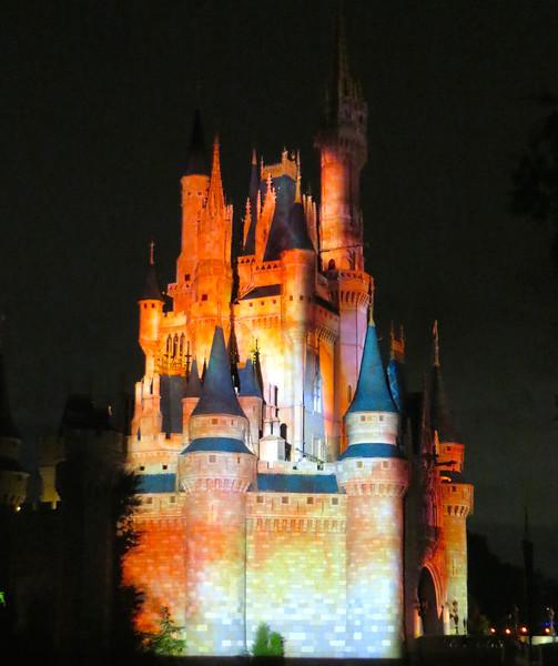 Disney's Castle During Light Show September 2014