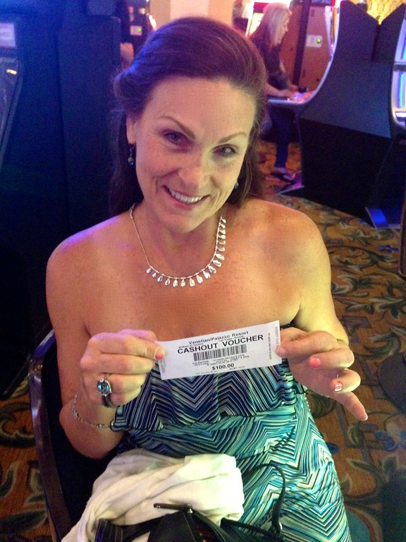 Pam Lanza With Her Winnings Las Vegas June 2014
