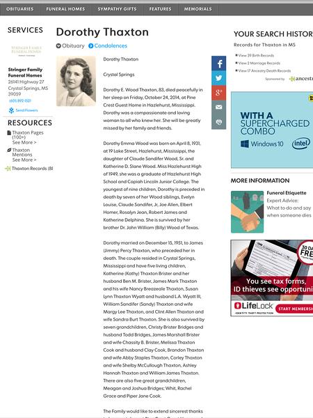 Dorothy Emma Wood Thaxton Obituary p. 1