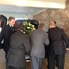 Pallbearers: L to R.<br /> Corley Thaxton (son of Mark),<br /> William Thaxton (son of Clint), <br /> Jay Brister (son of Kathy),  <br /> (funeral home personnel), <br /> Brandon Thaxton (son of Mark),  <br /> Clay Cook (son-in-law of Mark, husband of Melissa), <br /> Joshua Bridges (grandson of Kathy, son of Christy), <br /> Todd Bridges (son-in-law of Kathy, husband of Christy).