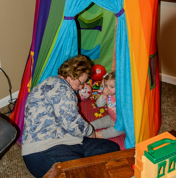 Grandma's latest creation, a tent complete with lighting, two windows and pockets for books.