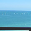 Sailboats in the Gulf of Mexico seen from our patio, Crescent Beach, FL, 2/20/2014