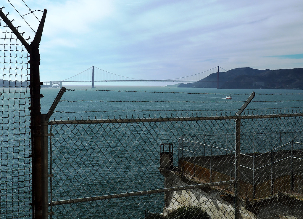 Golden Gate bridge, a view from where the prisoners would exit the main cell block for the exercise yard.