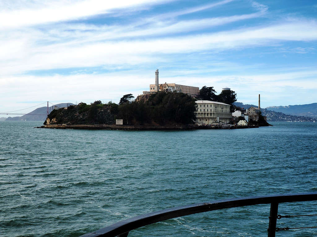 Alcatraz Island is bigger than it looks from San Francisco.  Dock access is on the northeast corner of the island.