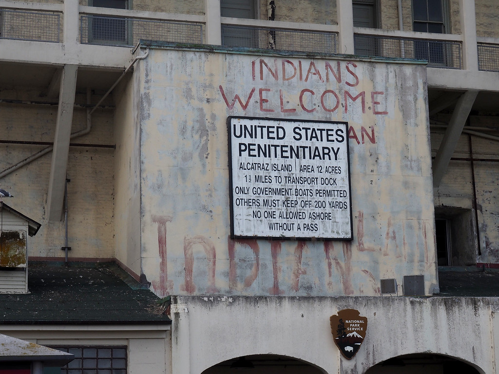 We learned a lot about the island and its history.  In 1969-71, 79 Indians from different tribes occupied the abandoned facility to raise awareness of the plight of the Native Americans.