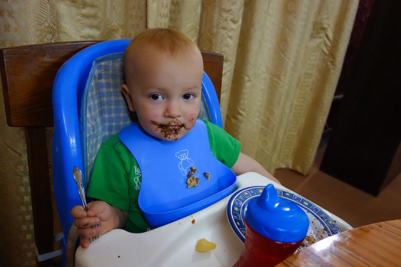 Seth enjoying Daddy's birthday cake.