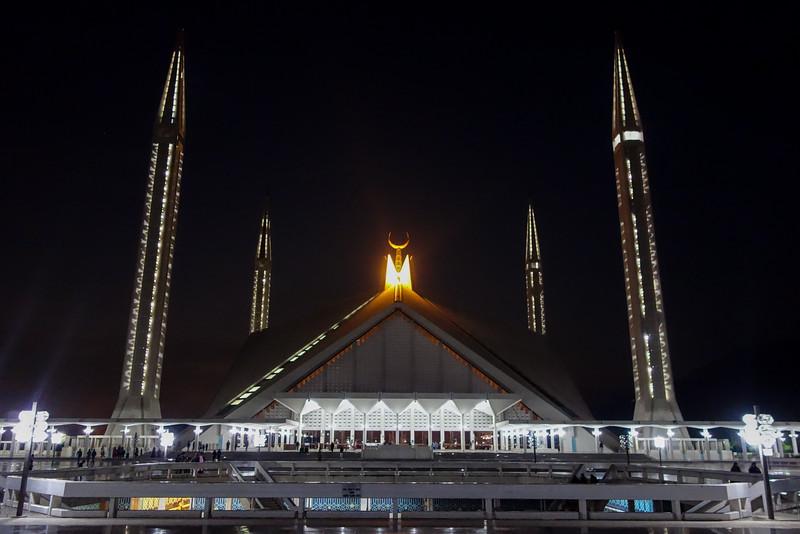 Faisal Mosque at night