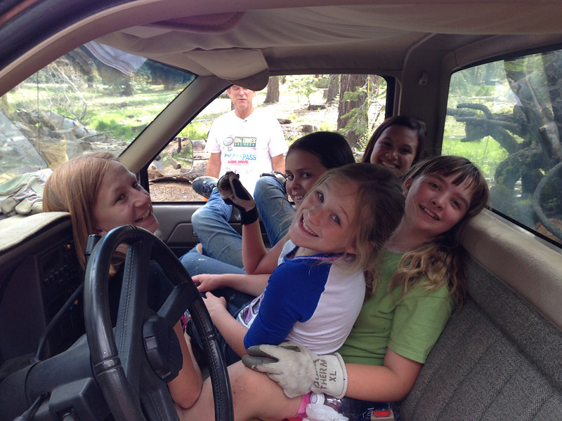 Work camp girls.   They were busy hauling pine tree brush, Camp Peaceful Pines.