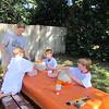 Jenny, Spencer, Bryan, Matthew making paper mache jack-o-lanterns, Clearwater, FL, 10/24/205