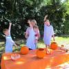 Grandma, Bryan, Matthew and Spencer making paper mache jack-o-lanterns! 10/25/2015