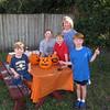 Grandma, Jenny, Bryan, Matthew and Spencer making paper mache jack-o-lanterns! 10/25/2015