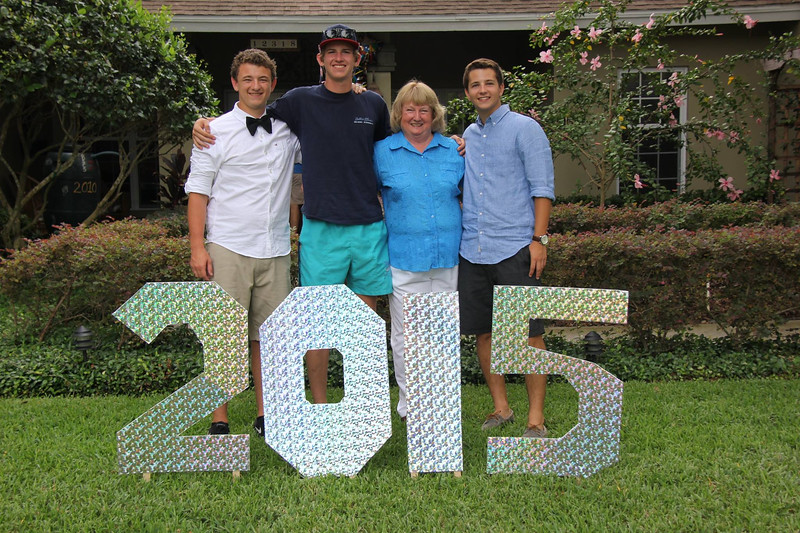 Shirley with 3 of her 2002/3 kindergarteners at a HS graduation party at MissyLaplante's. Logan Laplante, Jed Fish, Shirley Gould, Nathan Madagan.  Great kids! 6/7/2015