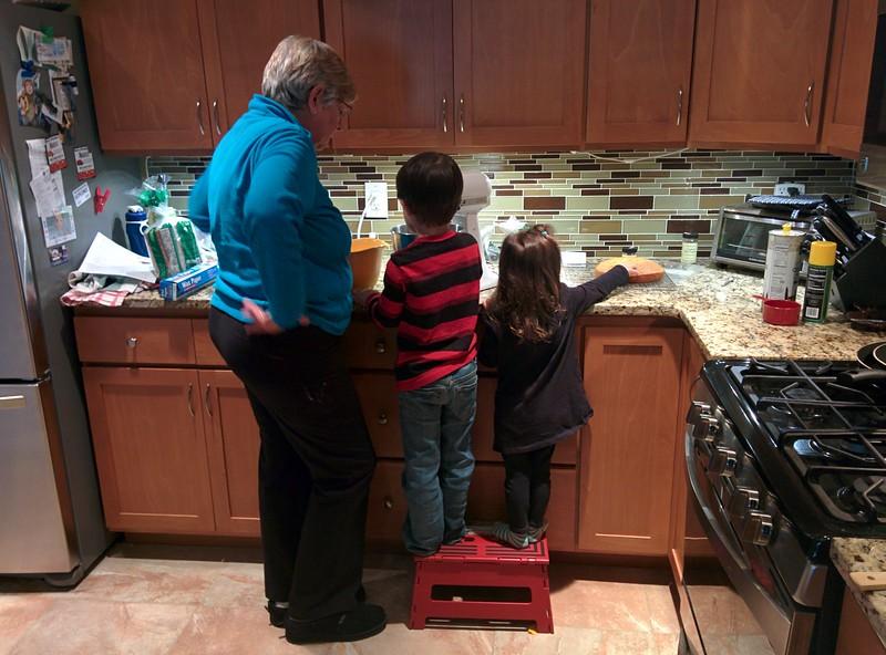 Helping Grandma in the kitchen