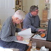 Frank and Ken Gould working on genealogy in Frank's living room, Mooresville, NC, 1/16/2015