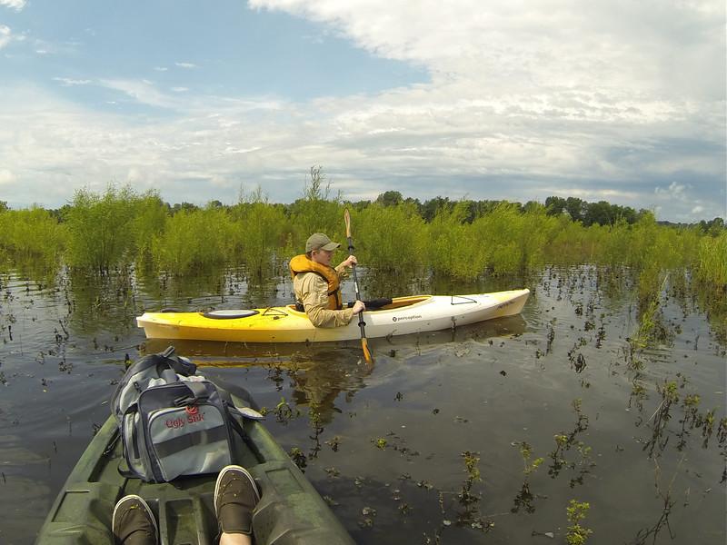 June 28, 2015 - Connor and David kayaking Lake Odessa, Iowa