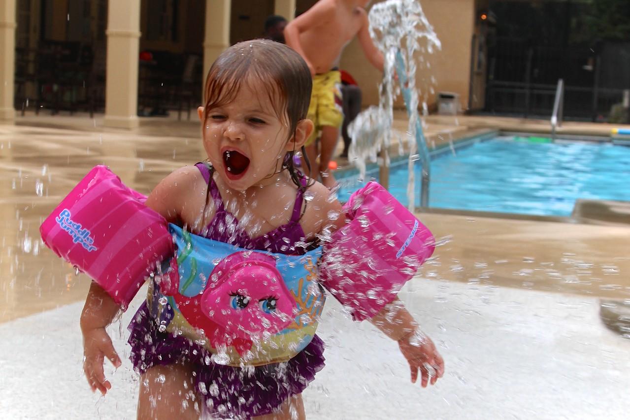 Splashing in the water spouts