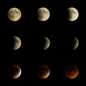Composite of transition from full moon to total lunar eclipse