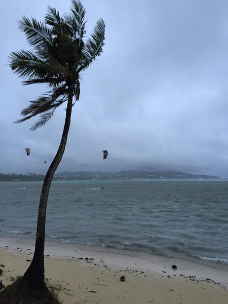 Kite boarders taking advantage of the wind July 5