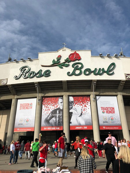 Rachel and Alex at the Rose Bowl, New Year's Day, 2018, Oklahoma vs. Georgia.