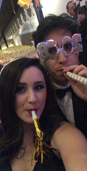 Rachel and Alex at Meredith Perot's deb ball on New Year's Eve, 2017, at the DMA.