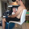 Apollo working out on the exercise ball