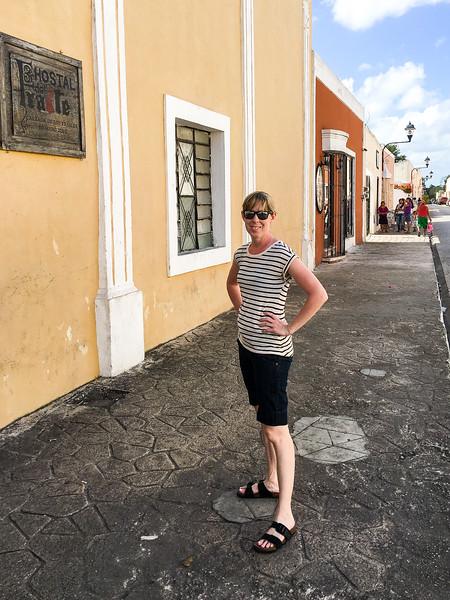 Julie on a lovely street