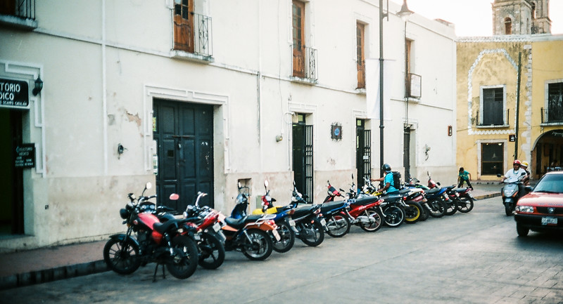 Line of Motos on a Street in Valladolid - Shot on Ektar 100 with QL17