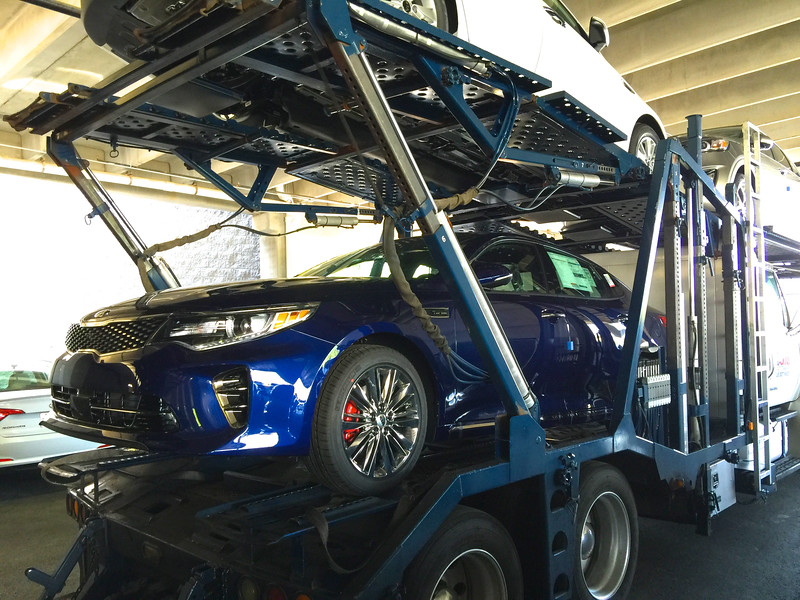 Russell Bellmor's 2016 Kia Optima SX Limited Arriving On Truck 4-18-16